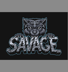 Aggressive wolf holding savage inscription vector