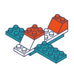 Airplane toy building block bricks vector