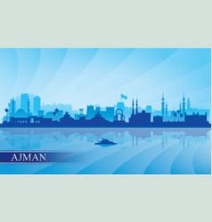 Ajman city skyline silhouette background vector