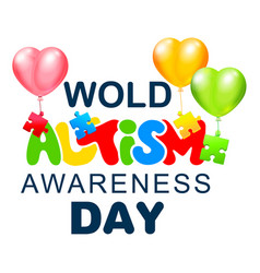 April 2 world autism awareness day text lettering vector