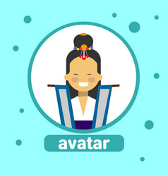 asian woman avatar icon korean female in vector image