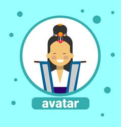 Asian woman avatar icon korean female vector