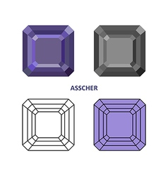 Asscher gem cut vector image
