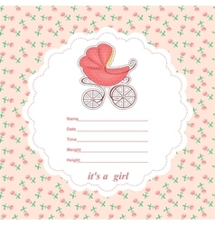 Baby shower card newborn girl with a stroller vector image