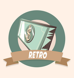 Bank banknote money retro shopping vintage label vector