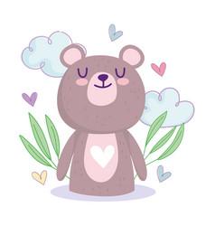 Bashower cute little teddy bear hearts clouds vector