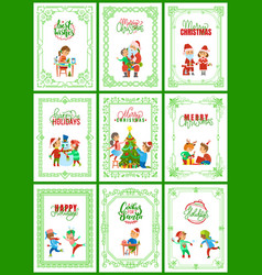 best wishes on christmas holidays posters set vector image