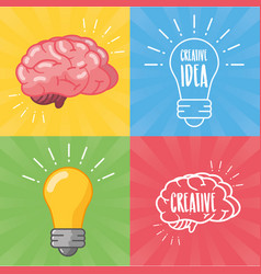 brain idea creativity vector image