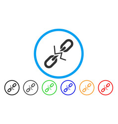 Broken chain link rounded icon vector