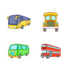 bus icon set cartoon style vector image