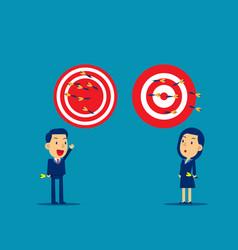 Business person throwing darts at dart board vector