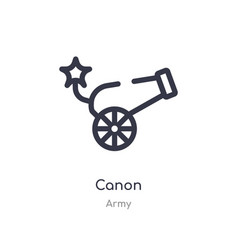 Canon outline icon isolated line from army vector