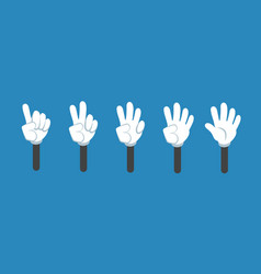 Cartoon counting hand with number gestures vector