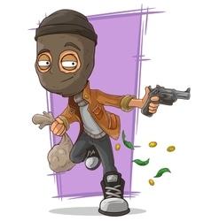 Cartoon thief in black mask vector