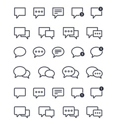 Chat icons set speech bubble outline sign vector