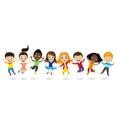 Cheerful children in a jump vector