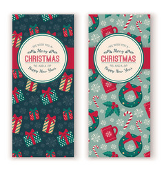 christmas toys pattern and greeting text vector image