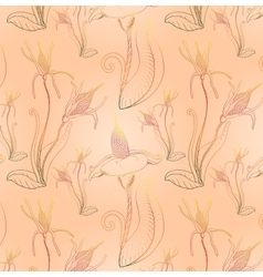 Colored art fantasy flowers seamless pattern vector image
