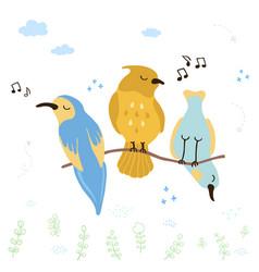 Colorful cute singing birds vector