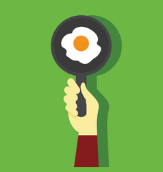 cooking breakfast egg hand gesture graphic vector image