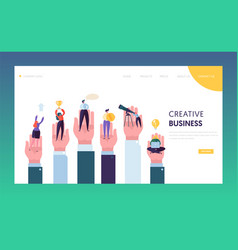 Creative business people in hand reaching goal vector