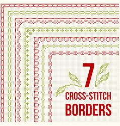 Cross-stitch embroidery - seven thin borders vector