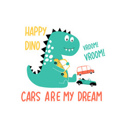 Cute dinosaur for t-shirt vector