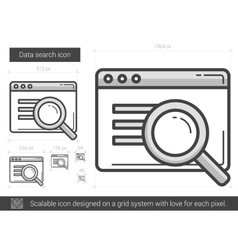 Data search line icon vector