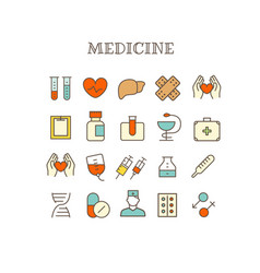 Different medical thin line color icons set vector