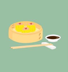 Dim sum in bamboo basket with a cup sauce vector