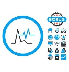 Ecg flat icon with bonus vector