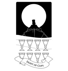 eight cups tarot cards boat silhouette on the vector image