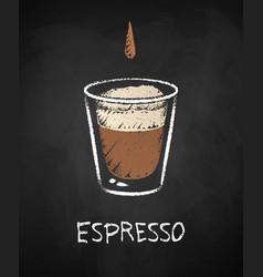 Espresso shot isolated on black chalkboard vector