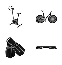 Exercise bike bicycle fins for swimming fitness vector