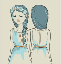 Girls astrological sign gemini vector