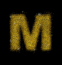 Gold dust font type letter m vector