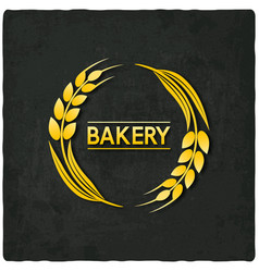 golden wheat bakery symbol black background vector image