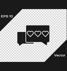 Grey like and heart icon isolated on transparent vector