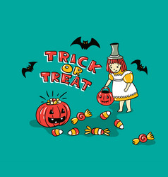 Halloween card with stylish lettering - trick or vector