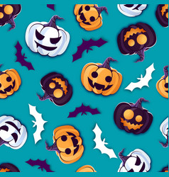 halloween seamless pattern with jack o lantern vector image