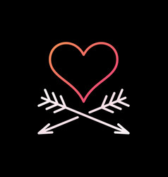 heart and arrows colorful line icon on dark vector image