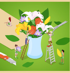 Isometric people making bouquet flowers vector