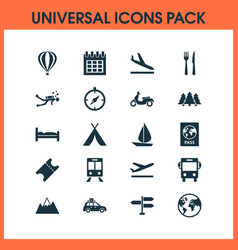 Journey icons set with tent train aircraft and vector