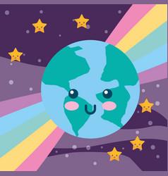 Kawaii planet earth rainbow and stars vector