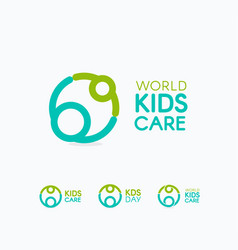 Kids care logo circular concept protection child vector