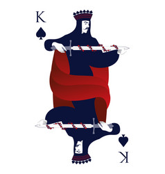 King of spades with crown holding a sword vector