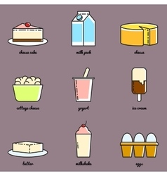 Line art dairy icon set Infographic elements vector