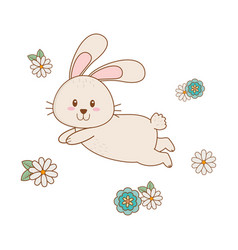 little rabbit with flowers easter character vector image