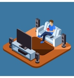 Man watching television on sofa flat vector image