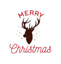 merry christmas badge design with deer head vector image